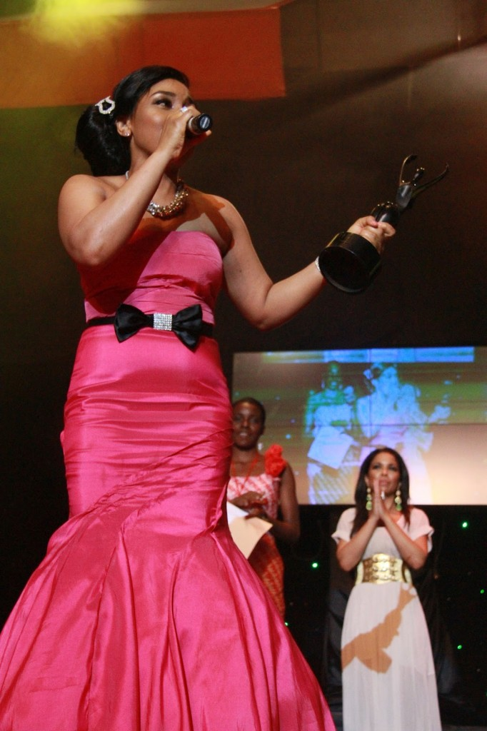 And for the African Magic Movie Awards 2012 a pink dress that screamed NO for her choice of belt